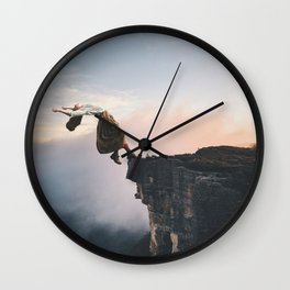 Up in the Clouds-Surreal Levitation Off a Cliff Wall Clock