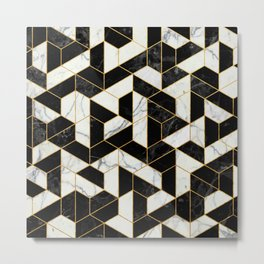 Black and White Marble Hexagonal Pattern Metal Print