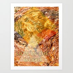 LION IN THE WOOD Art Print