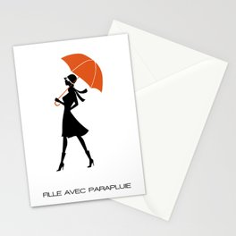 Fille Avec Parapluie Stationery Cards