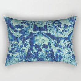 Blue Skulls (Abstract Surreal Blue Halloween Ghost Hour) Rectangular Pillow