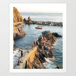 Cinque Terre rock swim Art Print