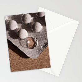 Blister pack opened  and empty without one tablets pills or capsule Stationery Cards