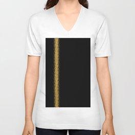Gold Halftone Line on Black Unisex V-Neck