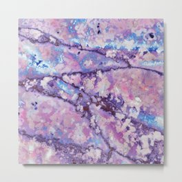 Violet and pink marble texture Metal Print