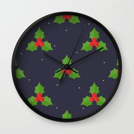 Red Christmas Mistletoe Pattern Wall Clock