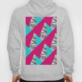 Modern Pink Teal Black White Marble Geometric Hoody