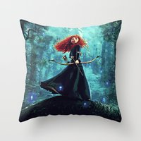 be brave Throw Pillows featuring Brave by Juniper Vinetree
