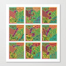 Tiles 1-9 White Canvas Print
