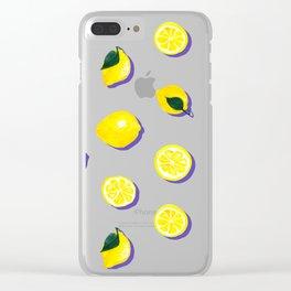Pink Lemon ~ 80's Pattern Clear iPhone Case