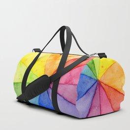 Rainbow Watercolor Geometric Pattern Duffle Bag
