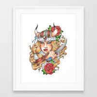 viking Framed Art Prints featuring Viking by Little Lost Forest