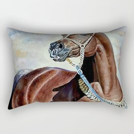Oil painting Brown horses - new oil painting for beautiful horse Rectangular Pillow