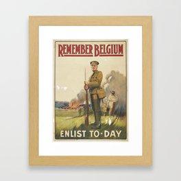 Poster, Remember Belgium, November 1914, United Kingdom, by Henry Jenkinson Ltd., Parliamentary Recr Framed Art Print