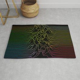rainbow illustration - sound wave graphic Rug