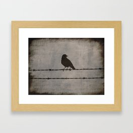 Rustic Black Bird Barbed Wire Modern Country Home Decor Art Matted Picture A476 Framed Art Print