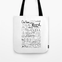 bible verse Tote Bags featuring All The Days, Bible Verse Art by Kate D
