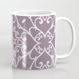 Decorative Floral Pattern 23 - Monsoon Purple, Bon Jour Gray Coffee Mug