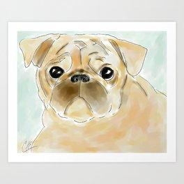 Pug face brown Art Print