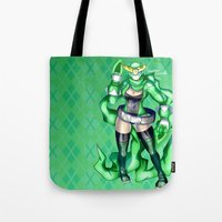 power ranger Tote Bags featuring Royal Ranger - Sublime Emerald by 121gigawatts