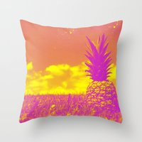pinapple Throw Pillows featuring Pinapple  by creativenomad