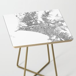 Lima White Map Side Table