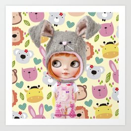 ERREGIRO BLYTHE DOLL ANIMALS Art Print