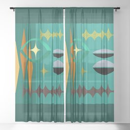 Watching The Watchers Mid Century Modern Geometric Abstract Sheer Curtain