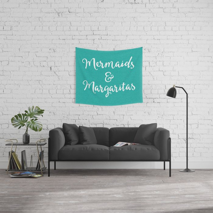 Mermaids & Margaritas Funny Quote Wall Tapestry
