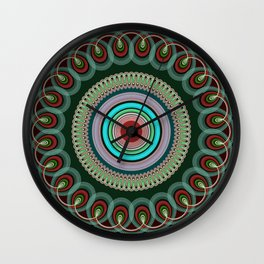 Curly Mandala in pink, blue, green and red Wall Clock