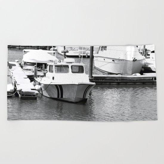 Boats BW Beach Towel