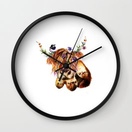 sunset highland cow Wall Clock