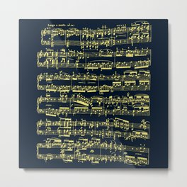 Bright yellow sheet music over deep blue background. Metal Print