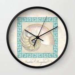 Greek Key Nautilus Seashell Botanical Shell w Striped Pattern Wall Clock