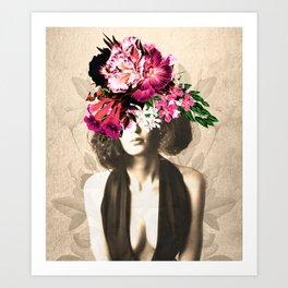 Floral Woman Vintage White Rose Gold Art Print