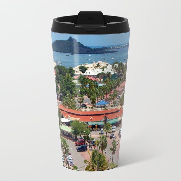 Colorful island and city scenes of Sint Maarten - St. Martin Metal Travel Mug