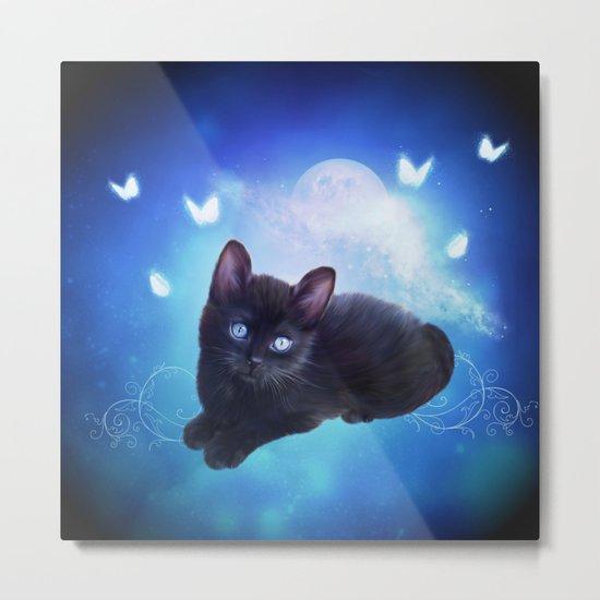Cute little black kitten Metal Print