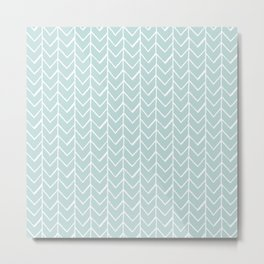Herringbone Mint Metal Print