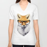 animals V-neck T-shirts featuring Mr. Fox by Isaiah K. Stephens