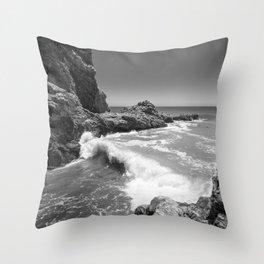 Waves crash along Rancho Palos Verdes coastline Throw Pillow