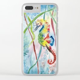 Colorful Seahorse Clear iPhone Case
