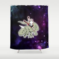 storm trooper Shower Curtains featuring Space Storm Trooper by JK Designs