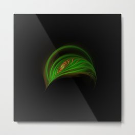 Gold Green Peacock Feather Metal Print