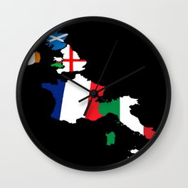 Six European Rugby Teams Map On Black Wall Clock