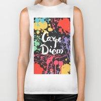 carpe diem Biker Tanks featuring Carpe diem by Julia Badeeva