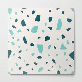 Simple Blue and Teal Terrazzo Mosaic Metal Print