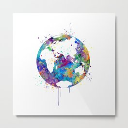 Planet Earth Art Gift Colorful Blue Purple Watercolor Art Environmentalist Gift Travel Art Metal Print