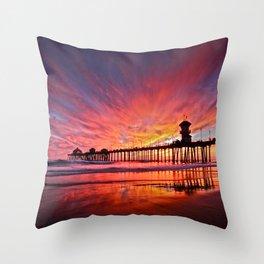 Sunset Huntington Beach Pier CA   Throw Pillow
