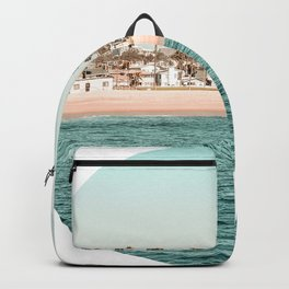 Vintage Newport Beach // Circle Crop Cut Out Photography Ocean Palm Trees Teal Tropical Summer Sky Backpack