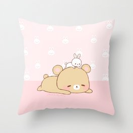 bear and bunny Throw Pillow
